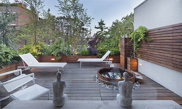 rooftop balcony outdoor soaking japanese tub and outdoor shower