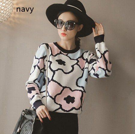 süße Blume Pullover für Frauen Rundhals Pullover stricken für den Winter
