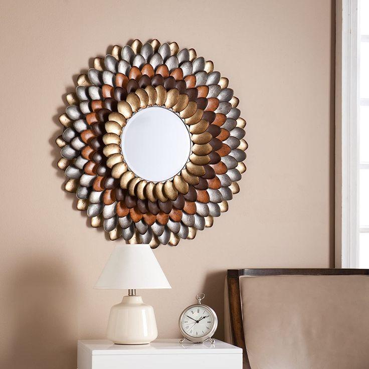 SEI Furniture Albion Round Decorative Mirror, Metallic
