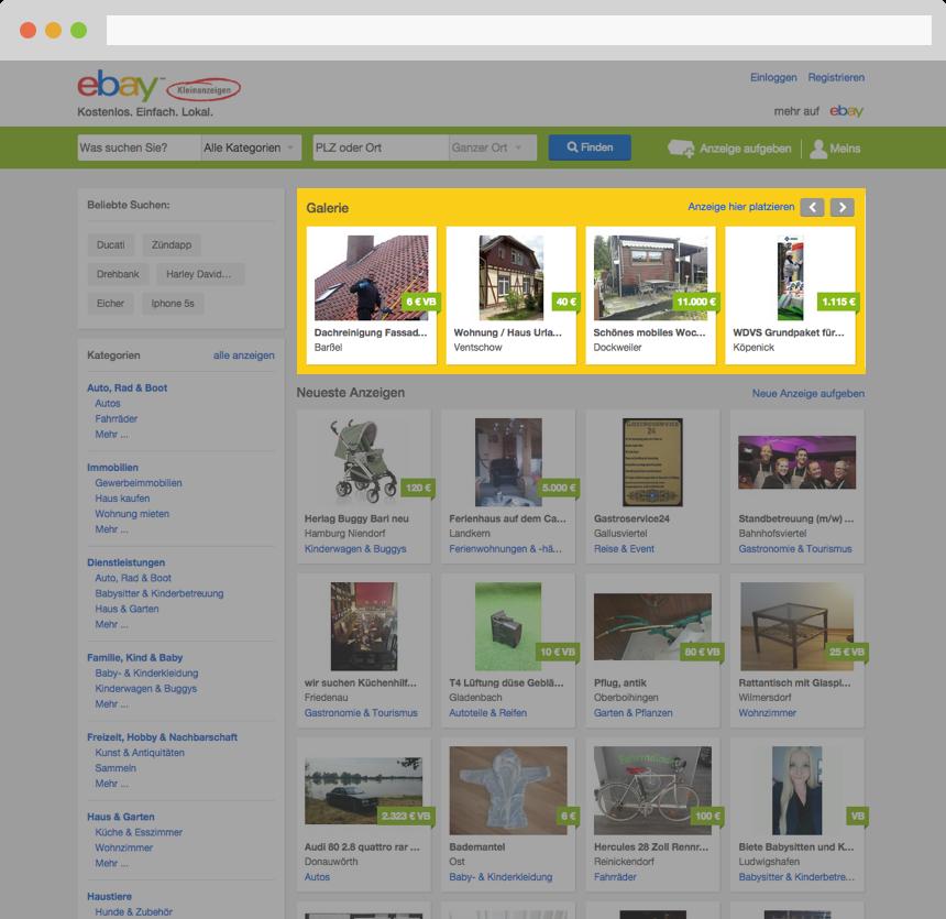 Kostenlose Anzeigen aufgeben mit eBay Kleinanzeigen Gebraucht oder Neu Privat oder Gewerbe