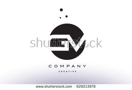 gv g v alphabet company letter logo design vector icon template simple black white circle dot dots creative abstract