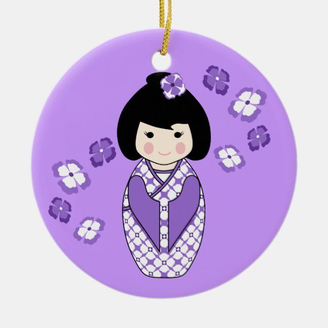 Kokeshi Style Doll Illustration with Floral Kimono Ceramic Ornament