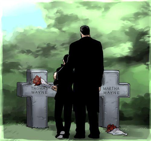 Bruce and Damien Wayne at the Wayne graves.