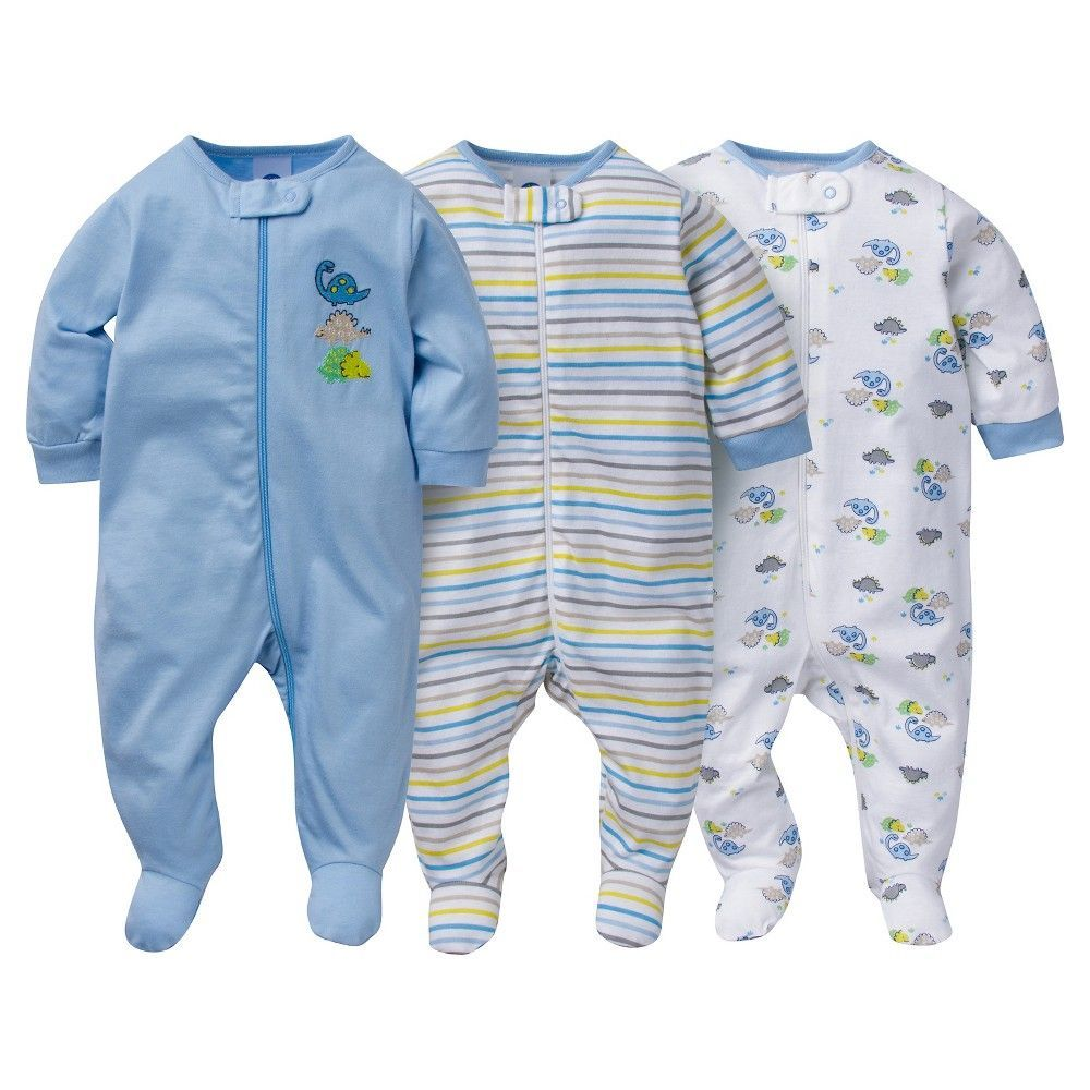 1978288941 Baby 3 Pack Zip Front Sleep N Play Dinos - Gerber