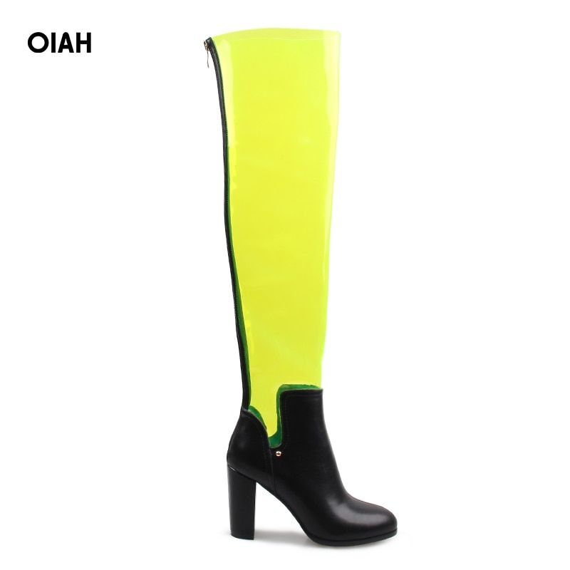 detailed look on sale cute cheap Oiah Autumn Spring Fashion PVC PU High Boots Over Knee Boots Shoes ...