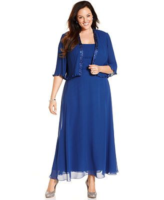 Patra Plus Size Dress And Jacket Sleeveless Pleated Gown