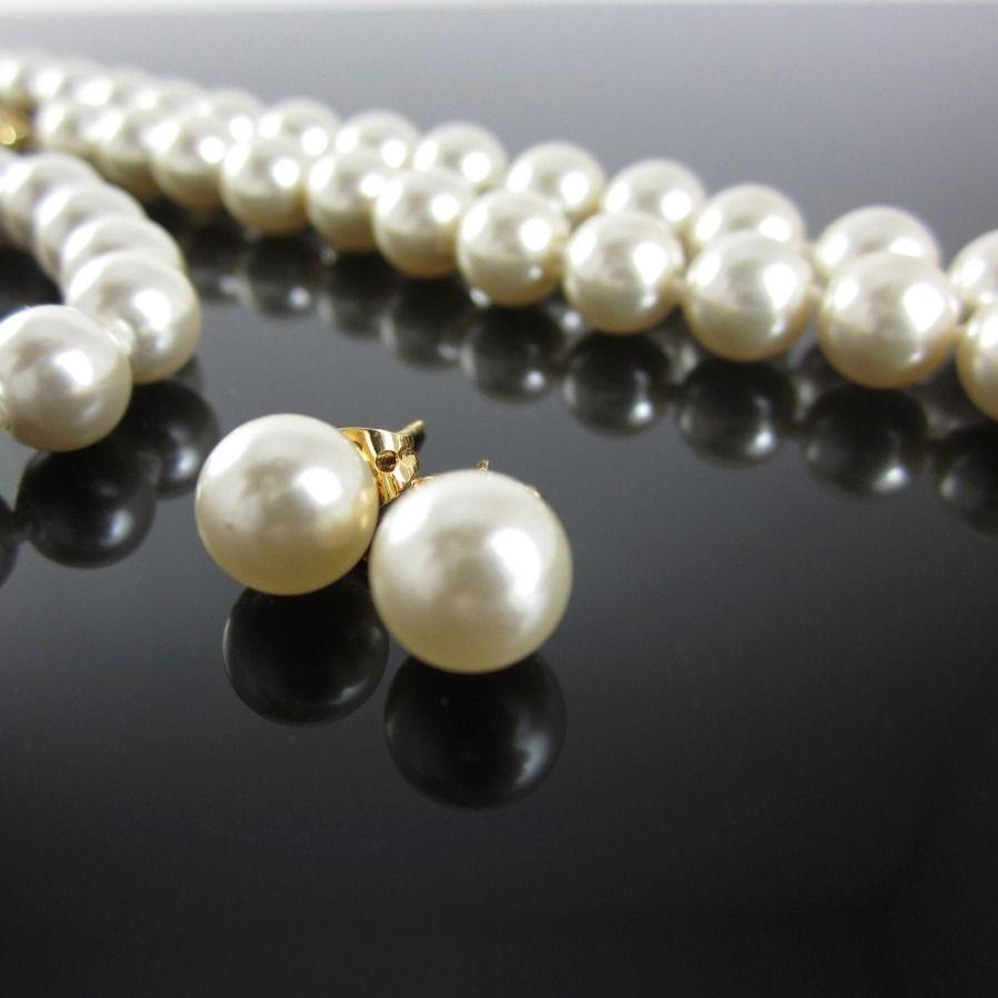 c6cf675534c7 collar perlas mallorca bijoux mujer aretes pulsera chapa oro ...
