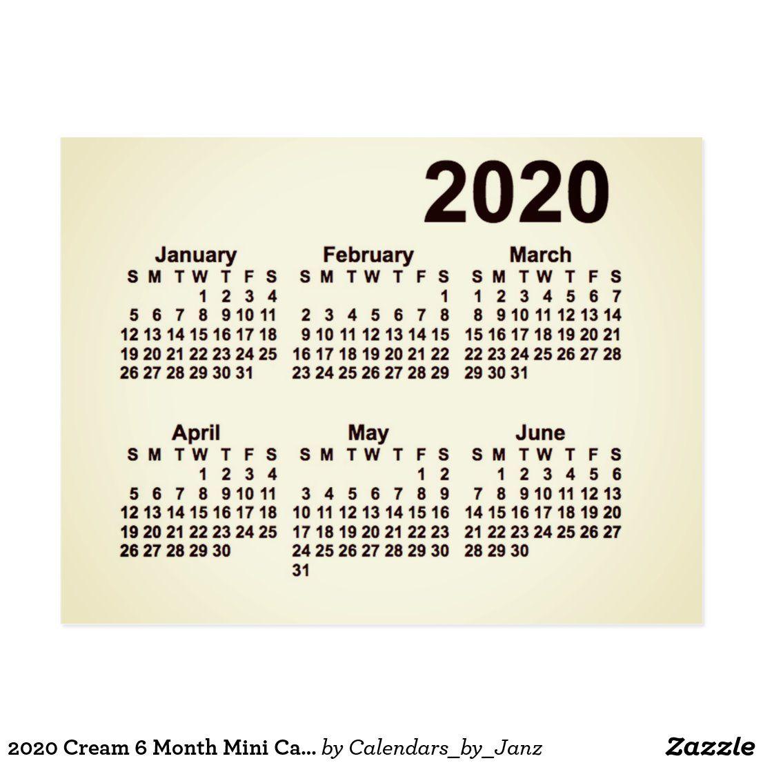 2020 Cream 6 Month Mini Calendar By Janz Postcard In 2020 Mini Calendars Calendar Design Custom Calendar
