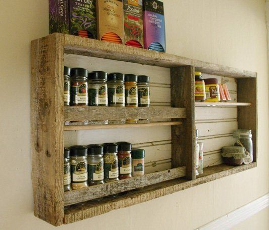 Rustic Kitchen: Reclaimed Wood Spice Rack | Rustic kitchen, Spice ...