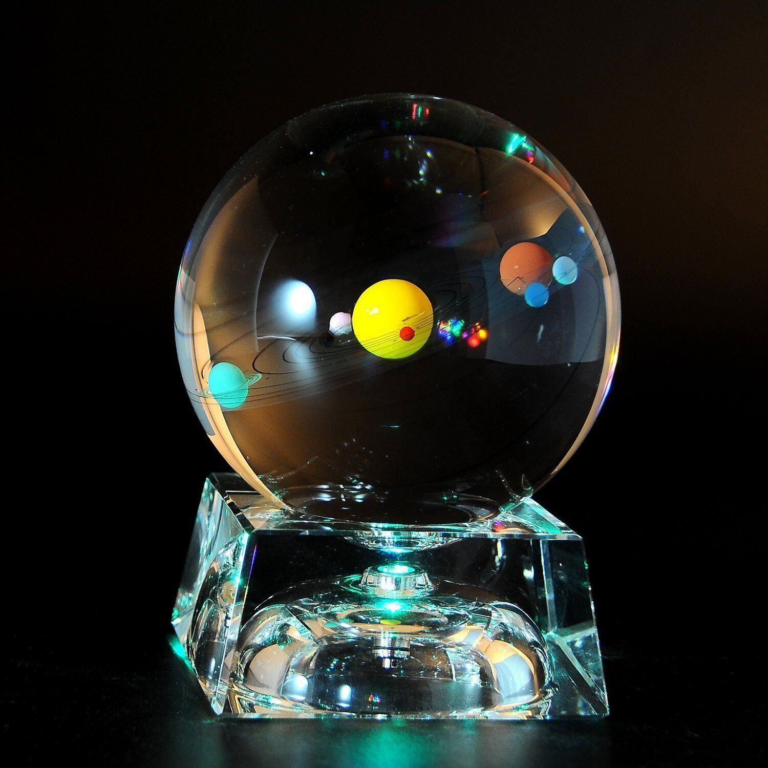 Solar System 3d Crystal Ball With Led Lamp Base Clear 80mm 3 15 Inch Glass Sphere Be In 2020 Birthday Gifts For Kids Presents For Boyfriend Birthday Presents For Mom