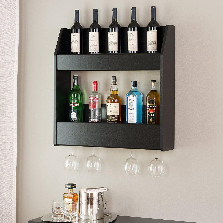 Amazon Com Floating Wine Rack Liquor Bottle Storage Glass Holder
