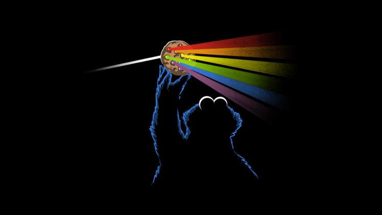 Pink Floyd Dark Side Of The Moon Black Cookie Monster Hd Wallpaper Pink Floyd Wallpaper Monster Monster Cookies