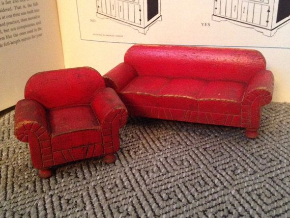 Vintage STROMBECKER 1930's Red-Painted Wood Dollhouse Sofa ...