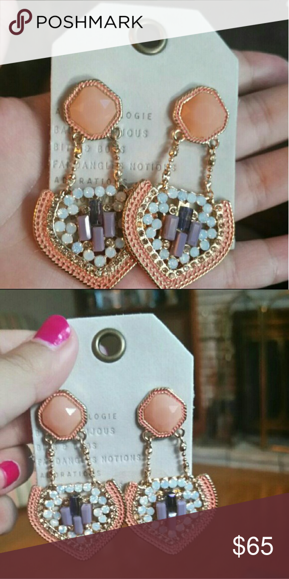 """Anthropologie Statement Earrings ●Brand new never worn  ●Retired Design   ●Style name - Nesrine Drops  ●Gorgeous and perfect for any formal event ( wedding, prom, ect )  ●They are a little on the heavier side so if you prefer  super light earrings I would not recommend  Metal, glass, acrylic Style No. 37398005 Dimensions - 2""""L, 1'W Anthropologie Jewelry Earrings"""