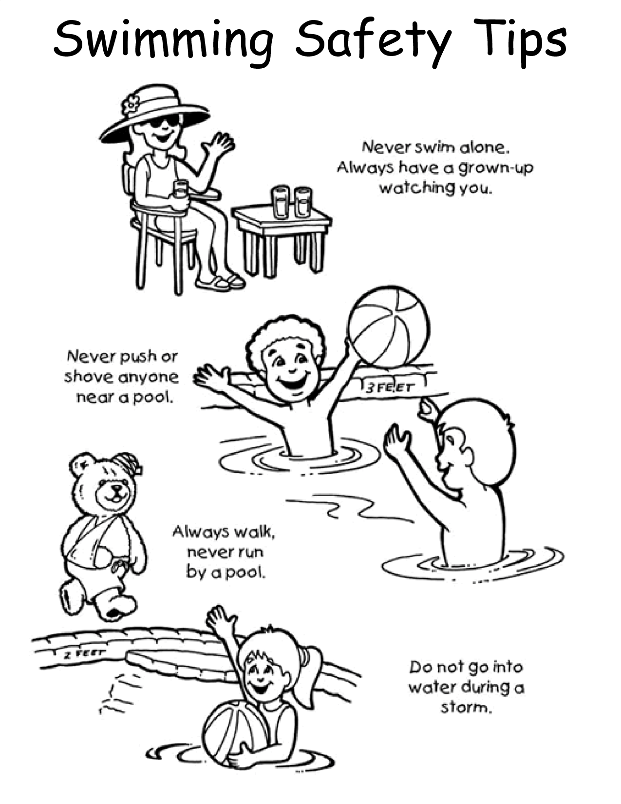 water safety code coloring book pages | Coloring Pages For Summer Safety | Swim lessons, Summer ...