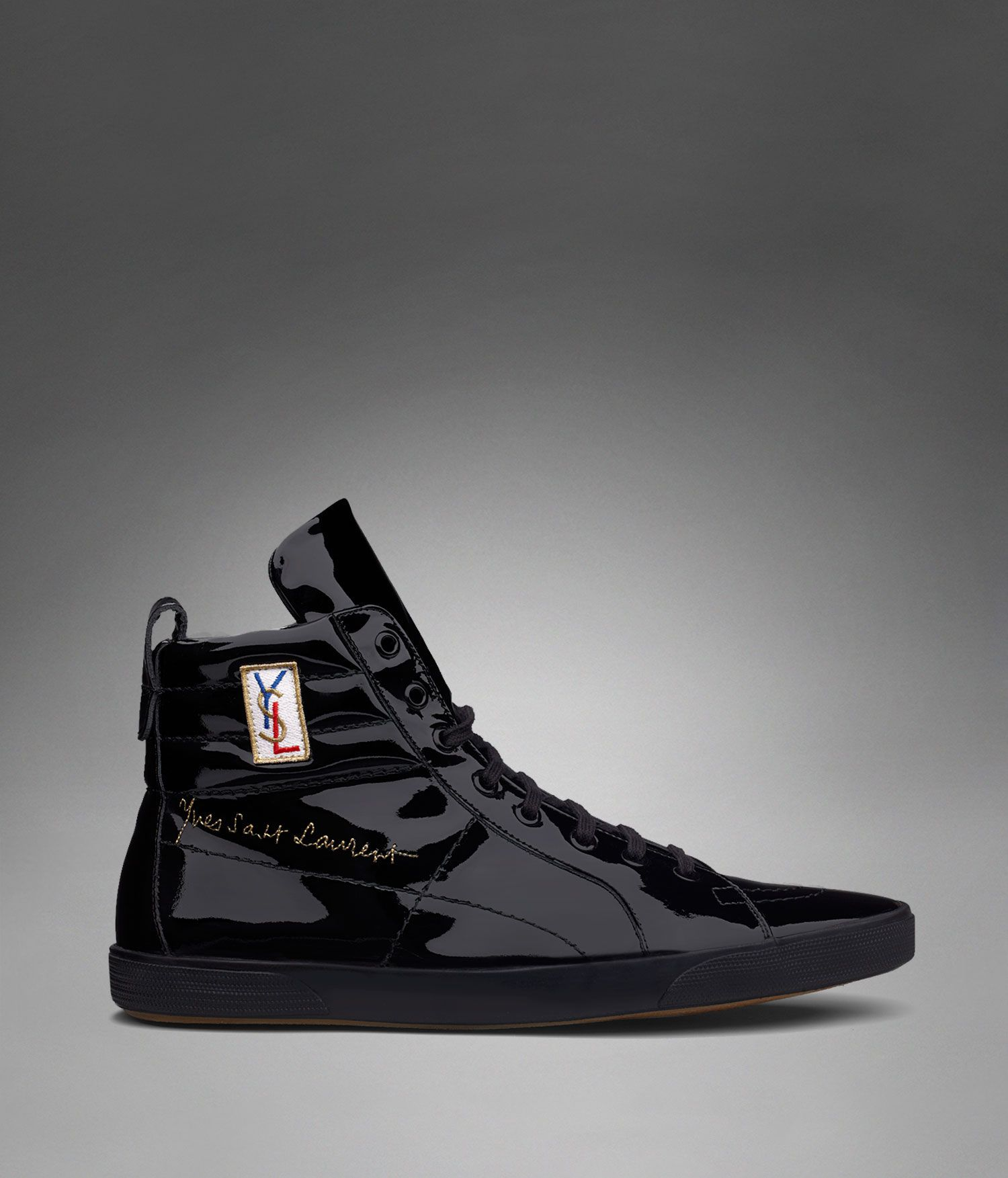 fde76477b8 Classic High-top Sneaker in Black Patent Leather - Yves Saint ...