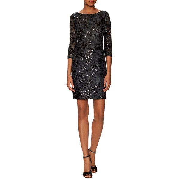 Aidan Aidan Mattox Aidan Aidan Mattox Women's Floral Sequin Mini Dress... ($169) ❤ liked on Polyvore featuring dresses, black, short sequin dress, short dresses, mini dress, open back sequin dress and sequin mini dress