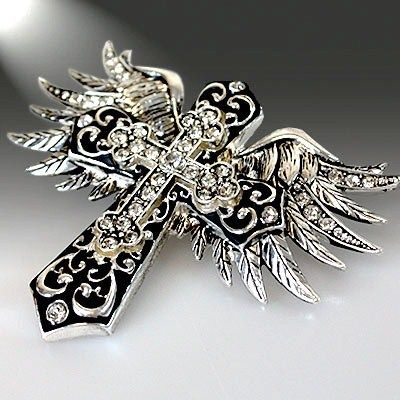 WESTERN COWGIRL JEWELRY BLING RHINESTONE CROSS ANGEL WINGS NECKLACE PENDANT | eBay