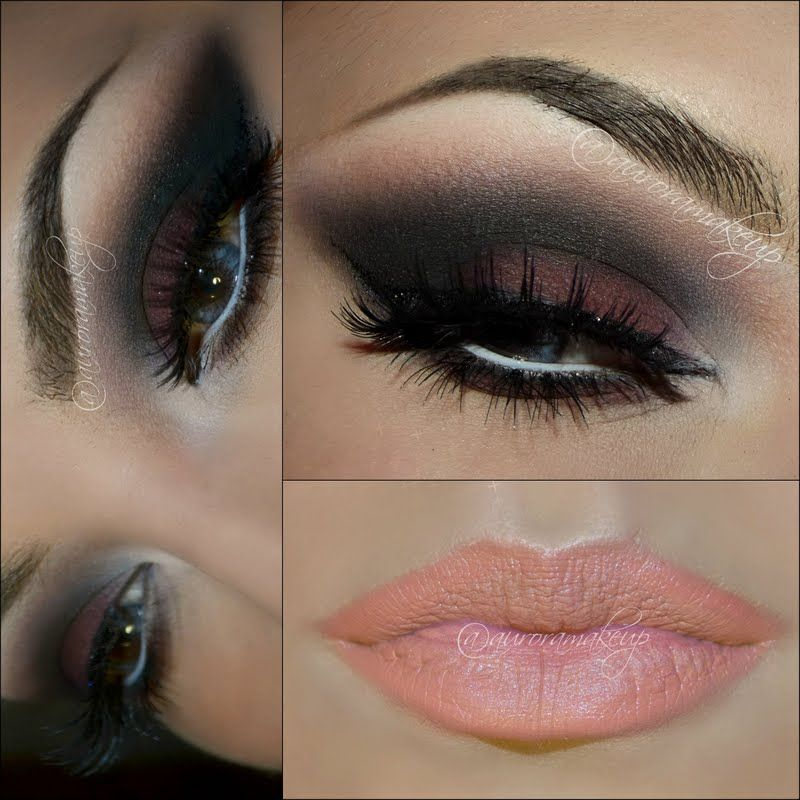 This Glamorous Night Out Eye Makeup Uses Maroon Black And Grey
