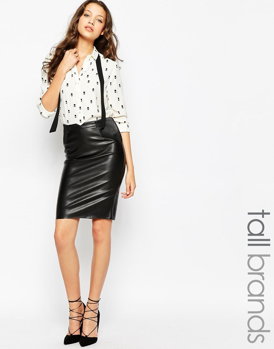 Vero Moda Tall Faux Leather Pencil Skirt With Rib Detailing ...