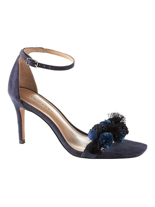 f4e53b11d61 Banana Republic Womens Pom Pom Bare High Heel Sandal Navy Suede