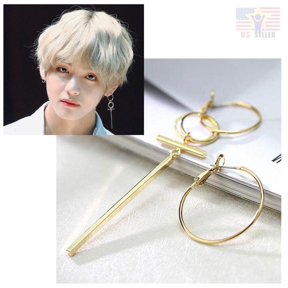 K Pop Korean Star Bts V Bangtan Boys Man Gold Silver Stud Cross 2 Hoop Earrings Bts Earrings Pop Jewelry Korean Earrings
