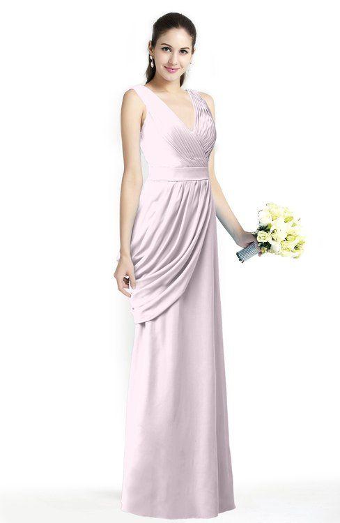 Blush Elegant A-line V-neck Sleeveless Zip up Sash Plus Size Bridesmaid Dresses