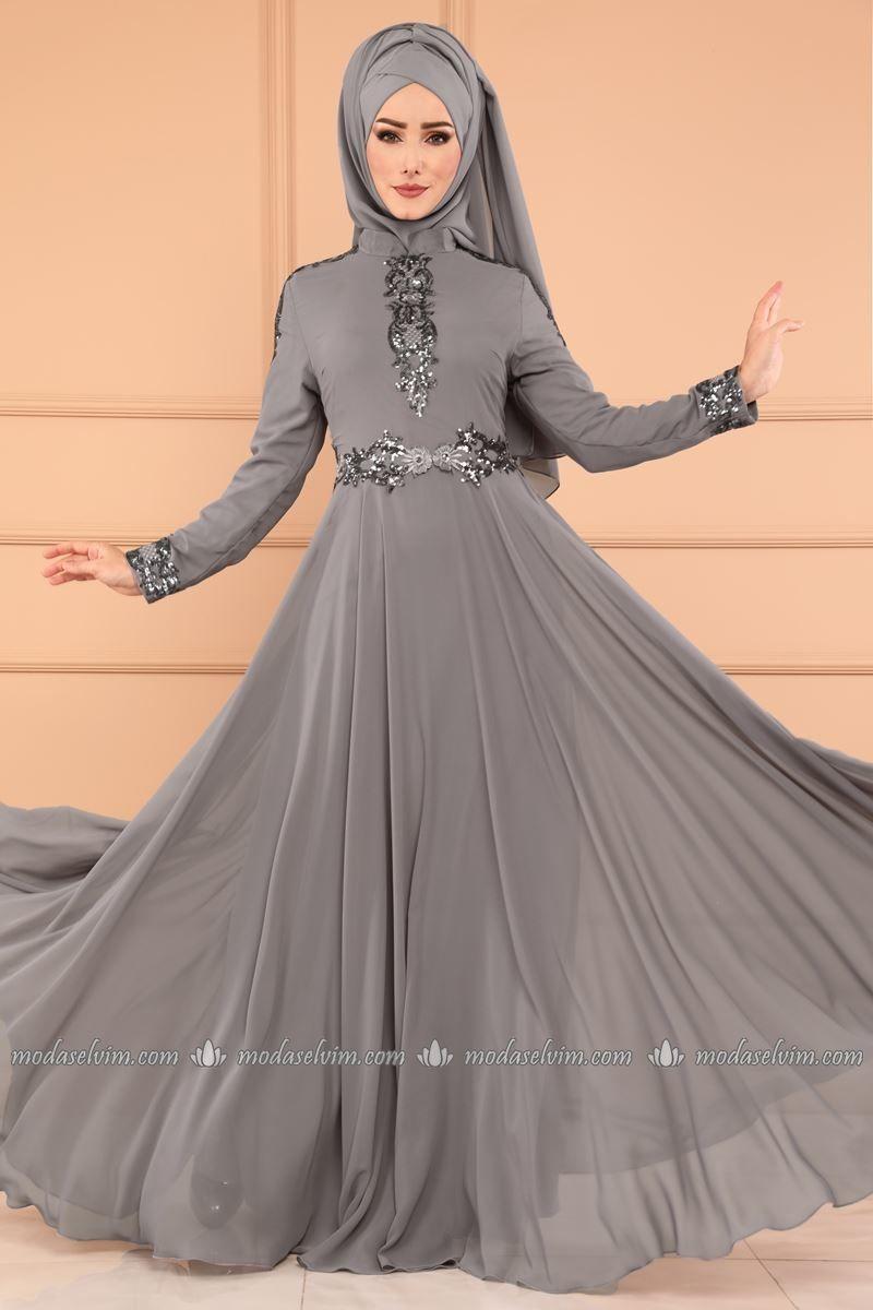Moda Selvim Pulpayet Sifon Abiye Ech7219 Gri Fashion Stylish Hijab Hijabi Fashion