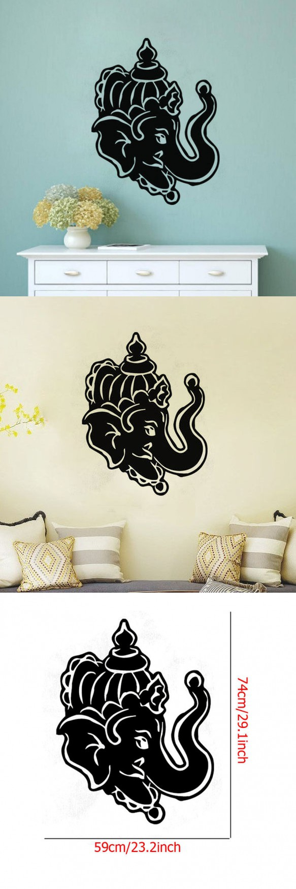 Hot Sale Removable Wall Sticker Ganesga Indian Elephant Head Wall - Locations where sell wall decals