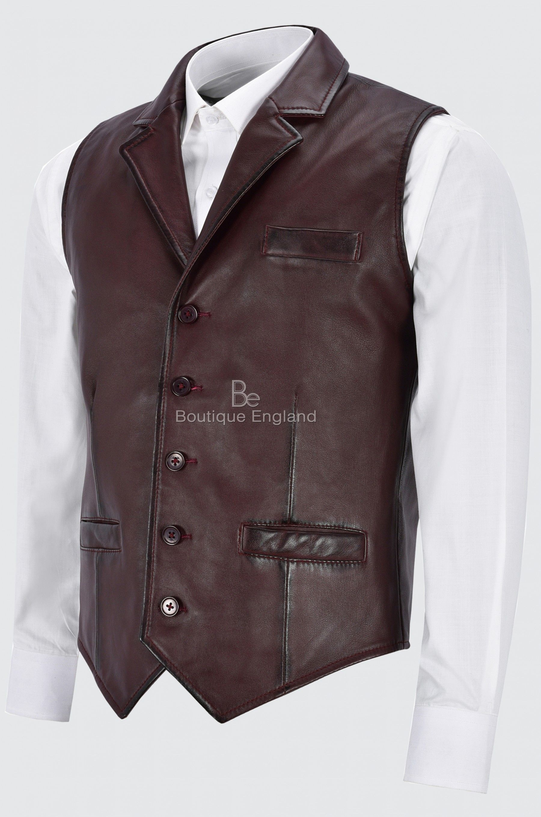 Men/'s Leather Waistcoat Black Mandarin Collar Indian Ethnic Vest Real Napa 3946