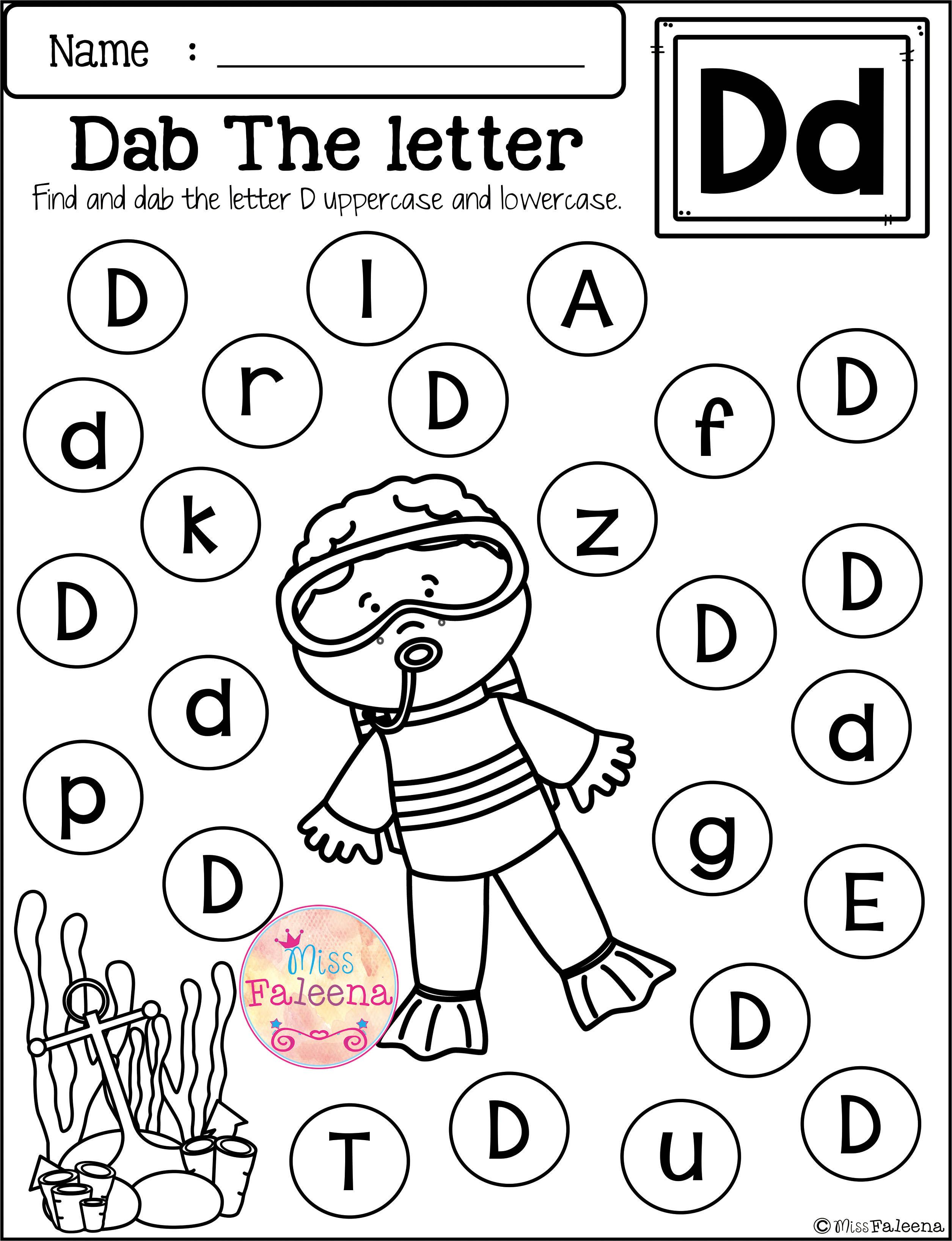 Free Alphabet Dab Contains 26 Pages Of Worksheets This Product Is Designed To Free Kindergarten Worksheets Alphabet Worksheets Preschool Preschool Worksheets