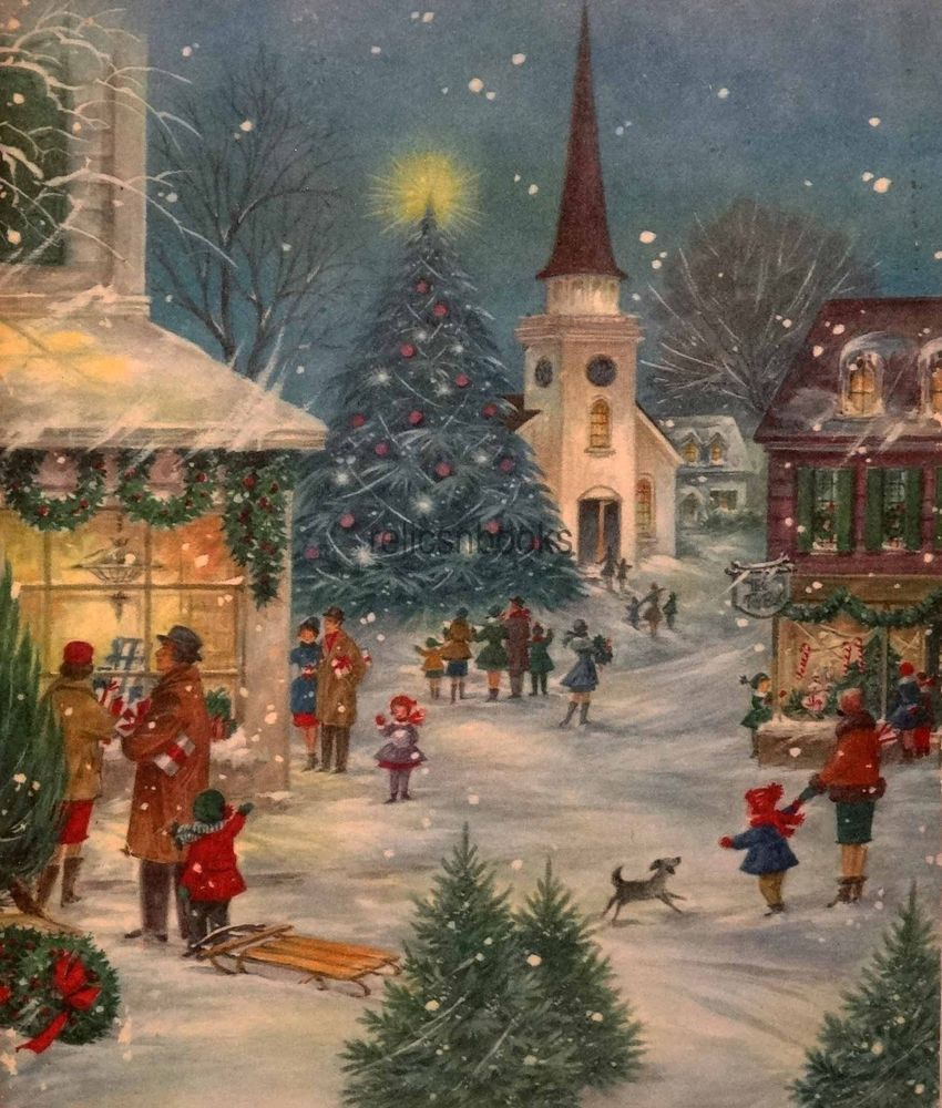 1812 60s bustling street scene vintage christmas card greeting us 550 in collectibles paper vintage greeting cards kristyandbryce Image collections
