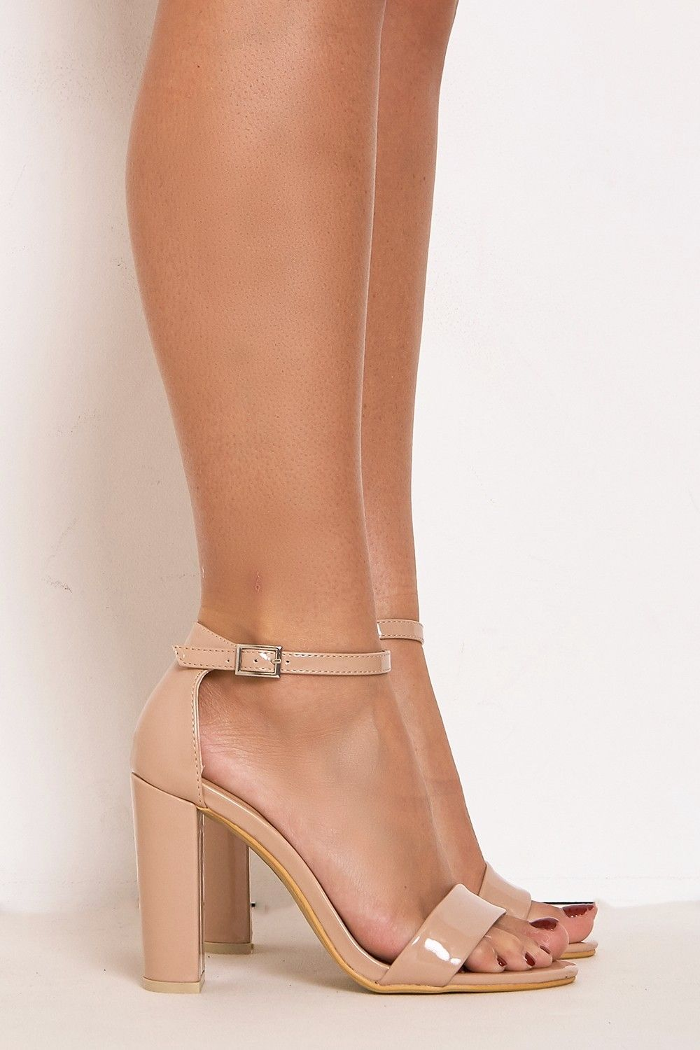 Nude Patent Barely There Block Heels | LASULA | Steven look here x ...