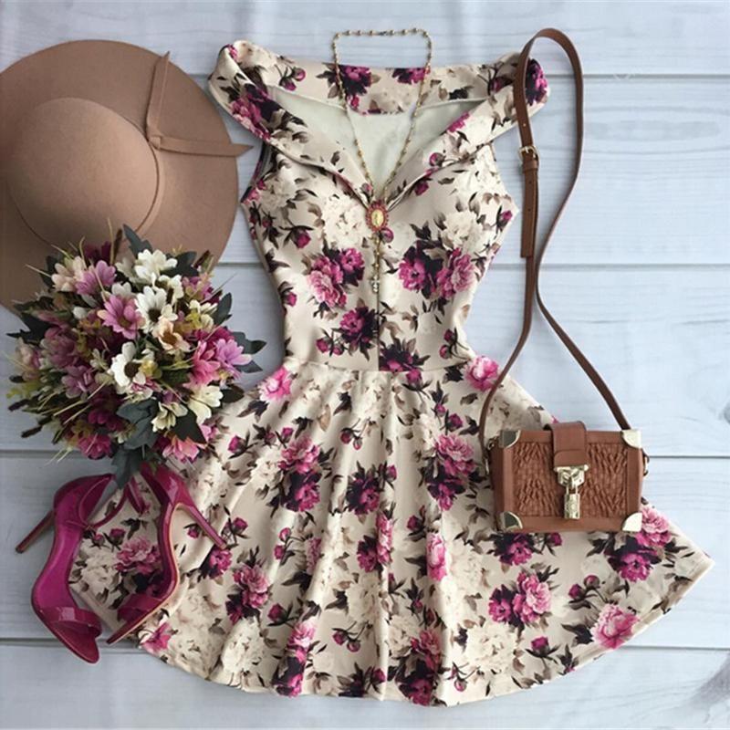 fed55c076 vestido da cópia da flor à venda a preços razoáveis, comprar Estilo verão  2016 Nova A-Line Mulheres Da Cópia Da Flor Vestidos Casuais Elegante Alça  de ...