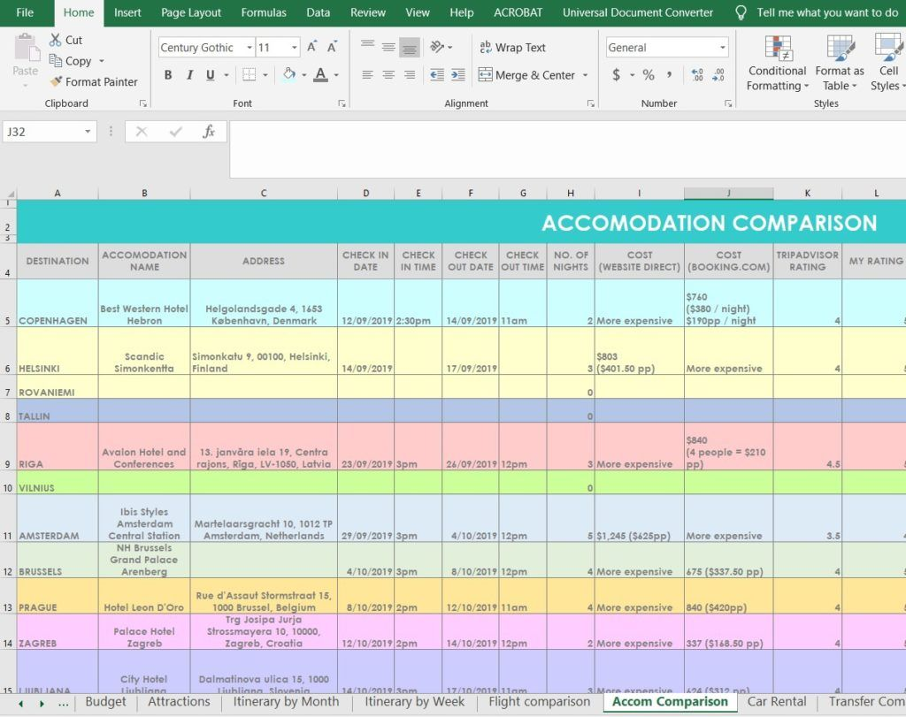 How I Use Excel To Organize All My Travel Plans Research Itinerary Hotel Tours Bookings Packing List Etc All About Planners Travel Itinerary Template Trip Planning Itinerary Template