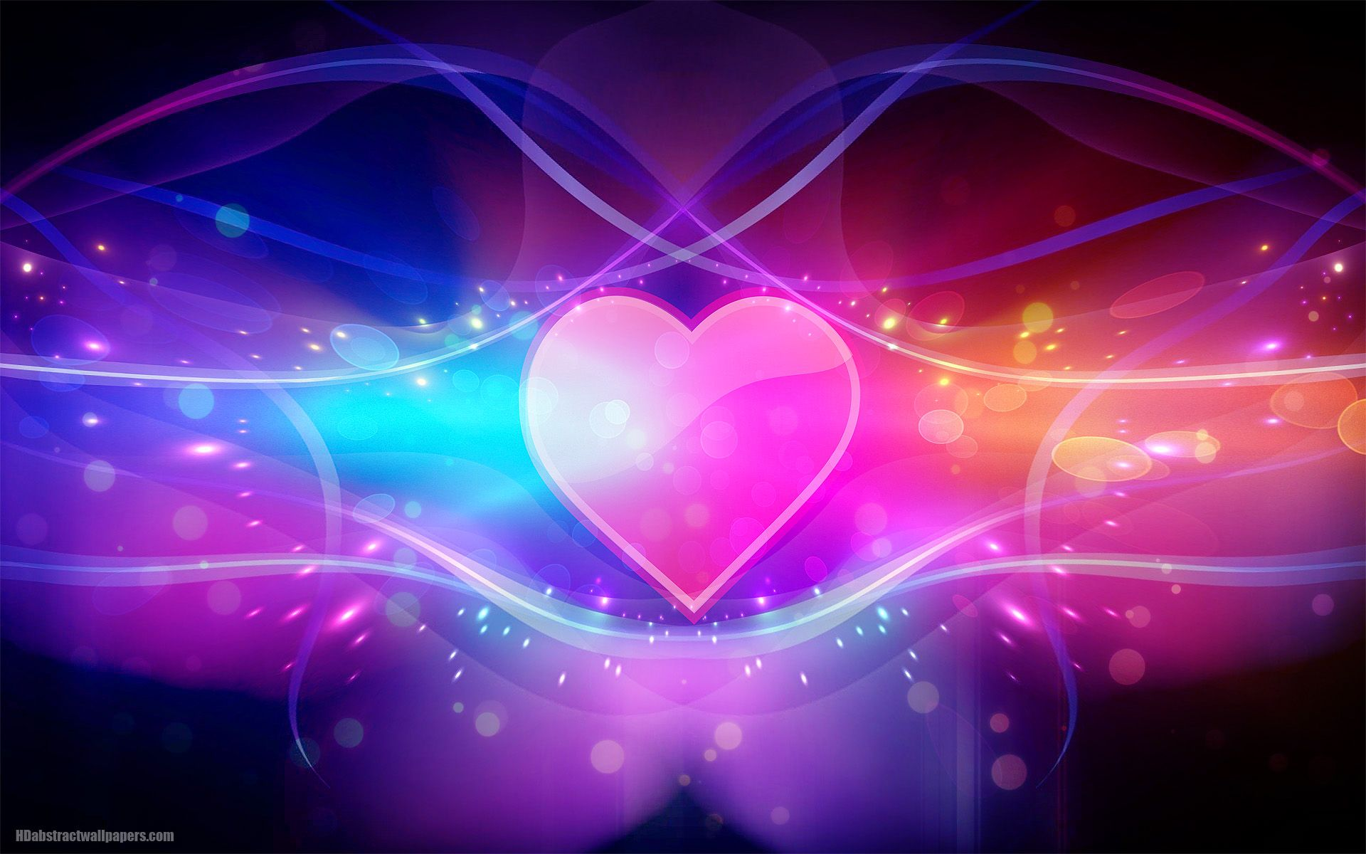 colorful abstract wallpaper with pink love heart HD ...