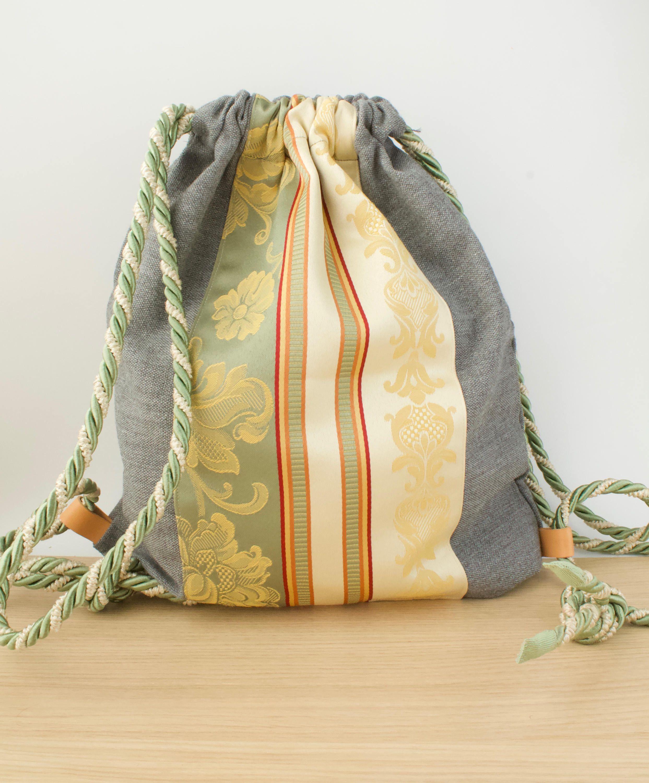 Zaino sacca di tela cotone pesante grigio con for Decorazione zaino