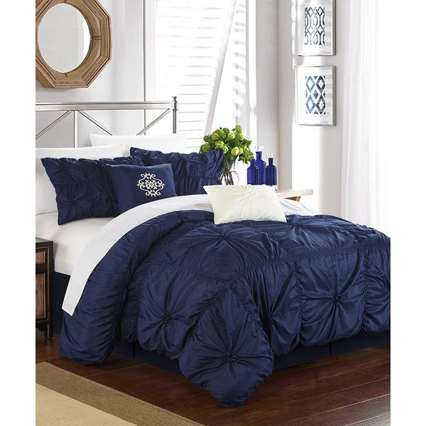 Chic Home Design Navy Roberta Comforter Set ($95) ❤ Liked On Polyvore  Featuring Home