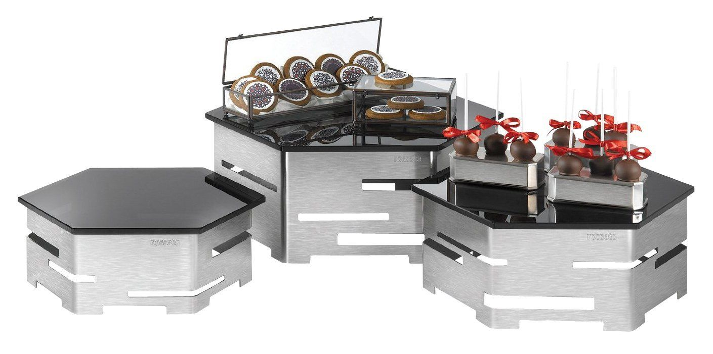 Rosseto SK001 5-Piece Skycap Multi-Level Brushed Stainless Steel and Glass Buffet Riser Kit