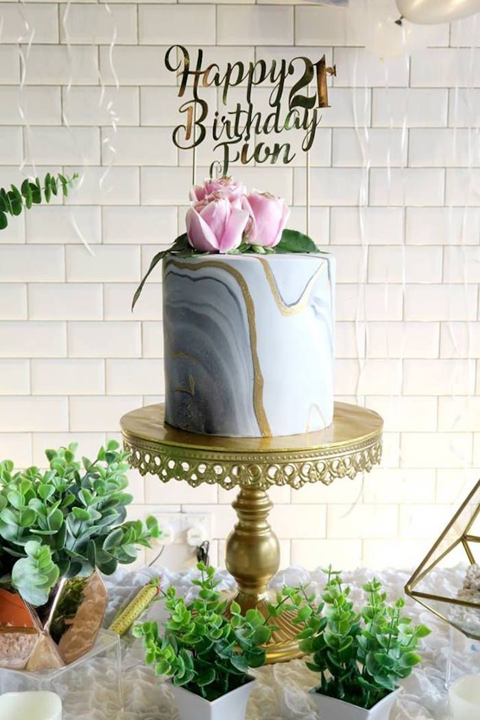 Marble Cake From An Elegant Inspired 21st Birthday Party On Karas Ideas