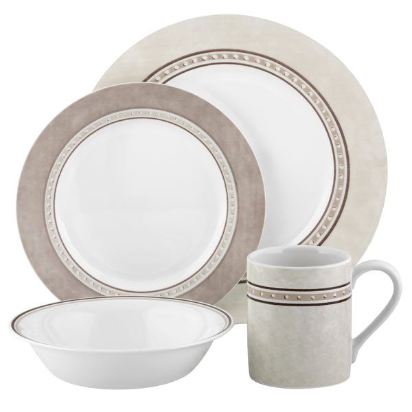Corelle Pewter 16pc Dinner Set  sc 1 st  Pinterest & Corelle Pewter 16pc Dinner Set - Pewter - Impressions - Corelle ...