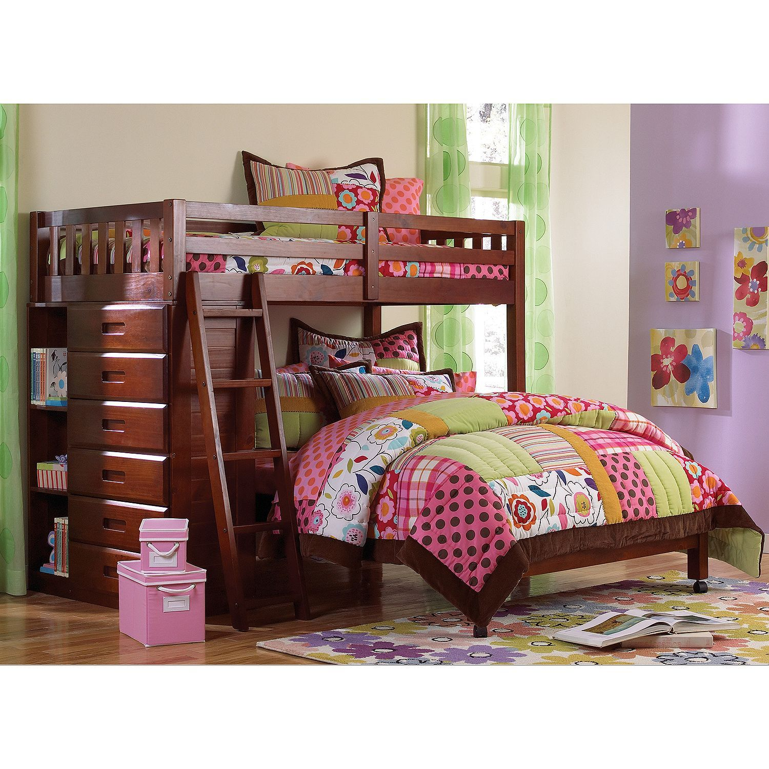 Best Loft Bed Twin Over Full With Five Drawer Chest Choose 640 x 480