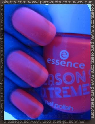 Bright Alert! - neon nail polish from Essence.  Review: http://www.parokeets.com/en/2012/04/review-and-swatches-essence-season-of-extremes-te/