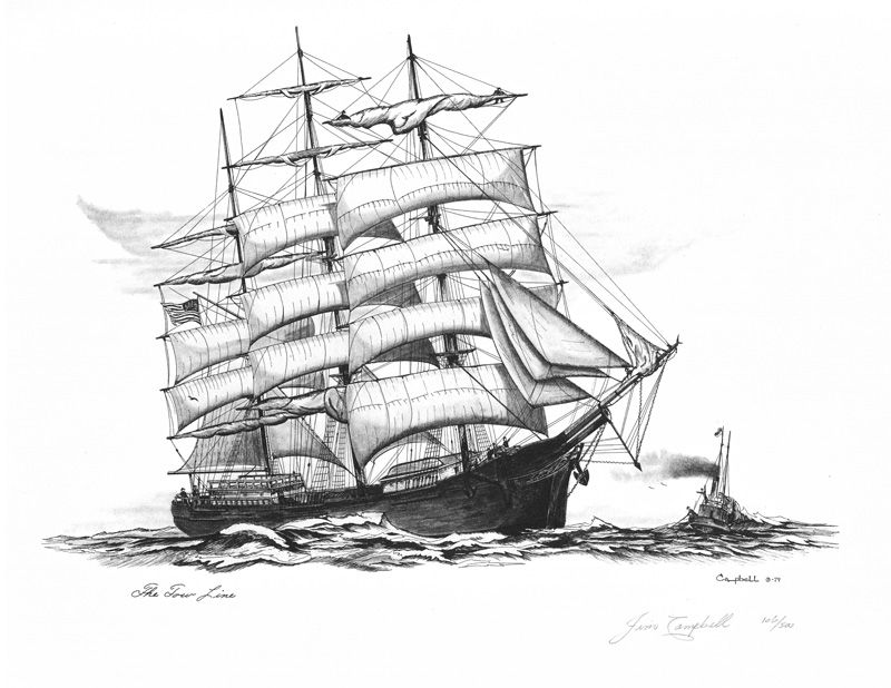 Line Drawing Ship : Hawaiian museums pyrography the tow line quot pen and ink
