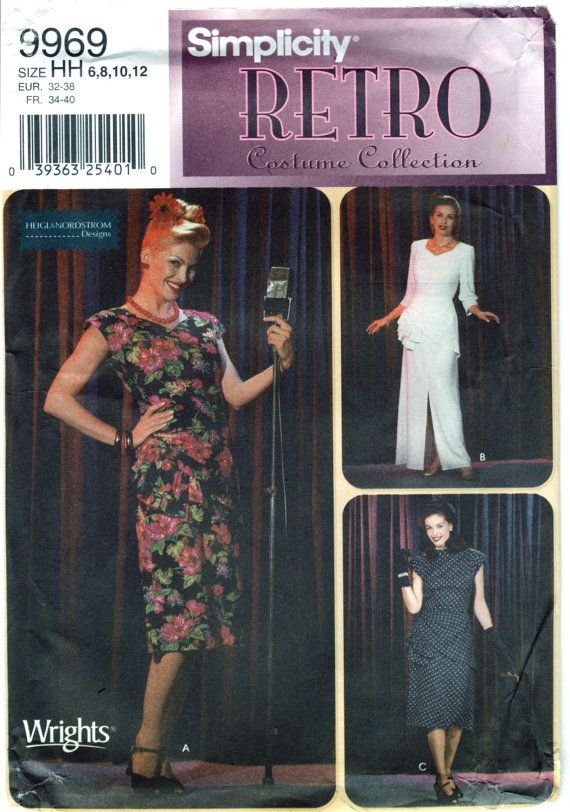 Simplicity 9969 40s Retro Costume Pattern Big Band Torch Singer