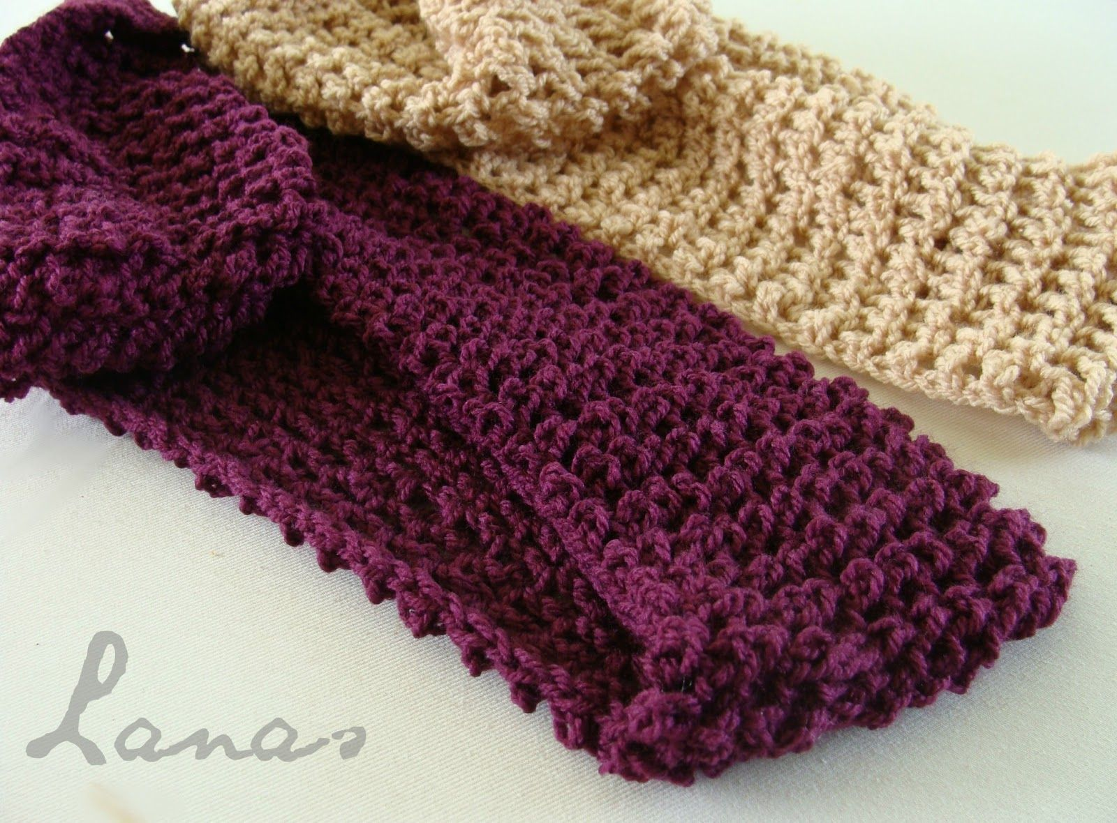 This scarf is made in crochet, but looks knitted. It uses