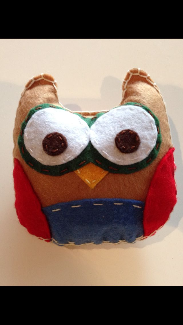 """DIY - Stuffed Felt Animals - Owl  This could be made with old shirts, gloves, socks, etc.  I saw the preschoolers at K12 using big plastic needles and yarn to sew a project.  We could do the same for the workshop.  It could be the """"puppet""""."""