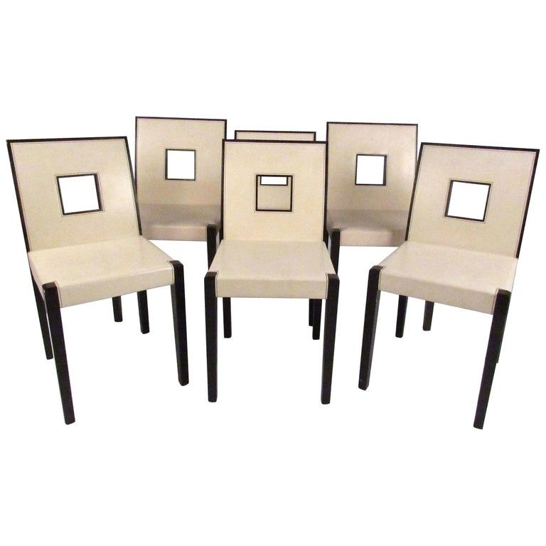 Set Of Six 1stdibs Dining Room Chairs - Keyhole Back Dining American Modern Leather images