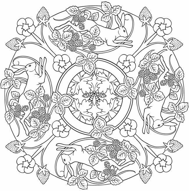 Nature mandela colouring page embroidery hoop pattern rabbits spring