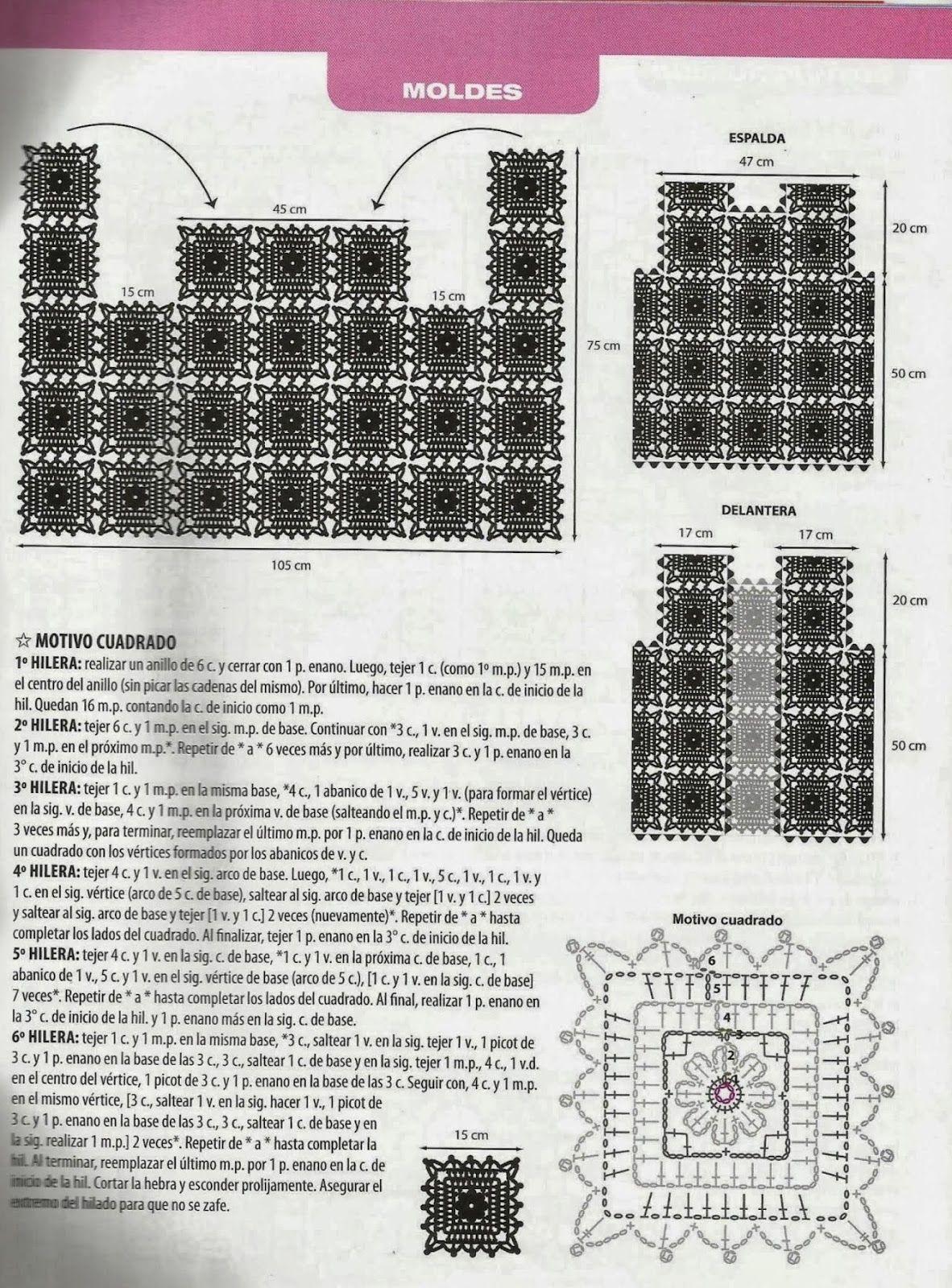 Chaleco Cuadrados de Crochet Patron - Patrones Crochet | CROCHET ...